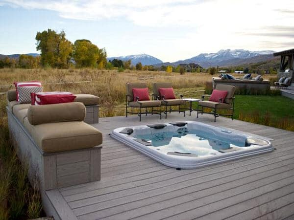Gorgeous Views from this Hot Tub Set in Deck