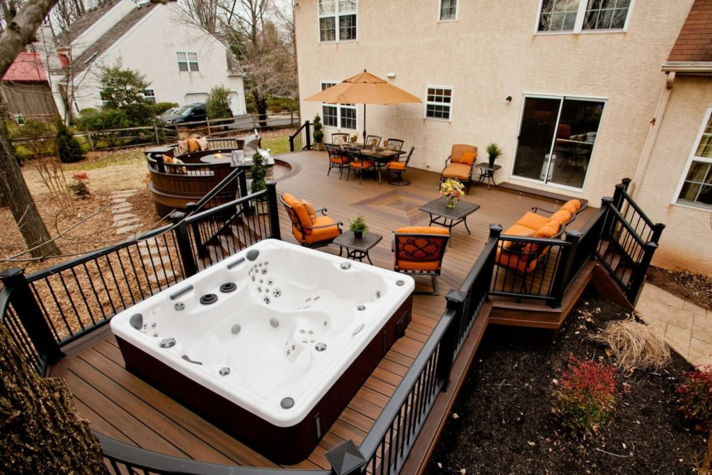 Deck Backyard Ideas cedar sun deck nice two tier Deck With Hot Tub Area