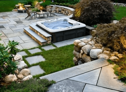 Steps Around In-ground Hottub