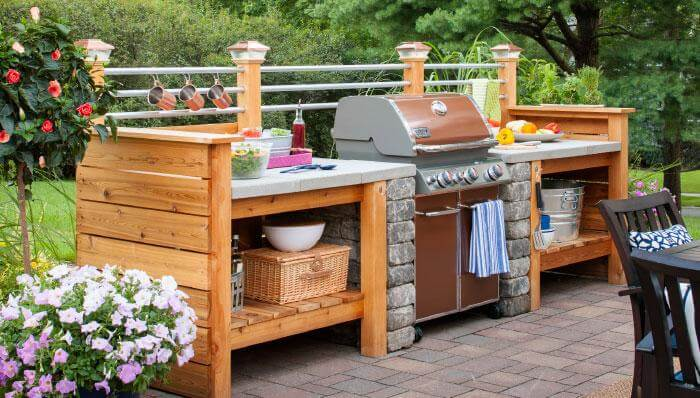 interject an outdoor kitchen in your deck design - Ideas For Deck Design